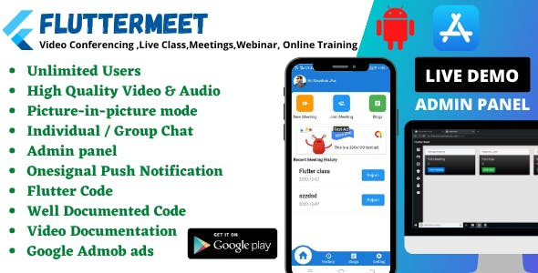 FlutterMeet- Free Android and iOS Video Conference App for Live Class, Meeting, Webinar