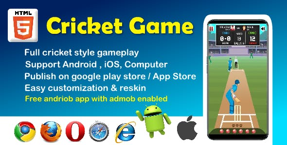 Cricket Stars HTML5 game ( support Android, iOS, computer )