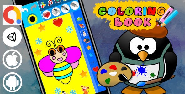 Coloring Book Portrait Unity Paint Kids Educational Game | Android and iOS with Admob ad