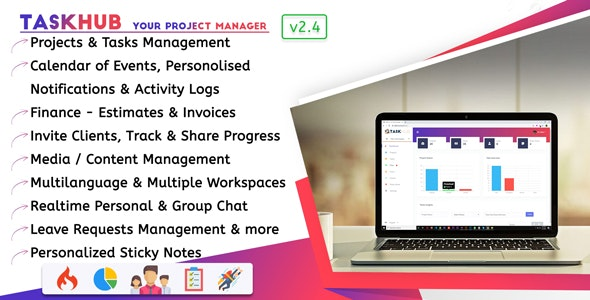 Taskhub - Project Management, Finance, CRM Tool - CodeCanyon Item for Sale