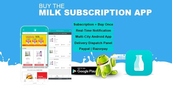 Milk, Water & Vegetable Subscription Android App | Wallet based Model like Milkbasket - CodeCanyon Item for Sale