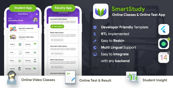 Online Classes & Online Test Android + iOS App Template| 2 Apps Student+Faculty| Flutter| SmartStudy
