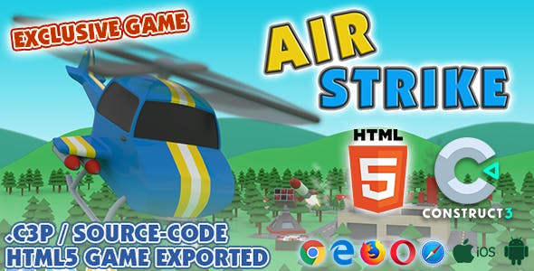 Air Strike HTML5 Game (Helicopter Game) - With Construct 3 All Source-code (.c3p)