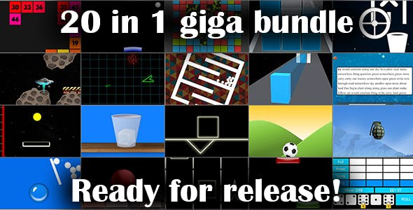20 In 1 Unity Games Bundle - compatible for android, iOS, WebGL, PC, linux, mac - hyper casual games