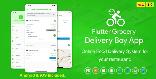 Flutter Grocery Delivery Boy App for iOS and Android ( 1.0 )