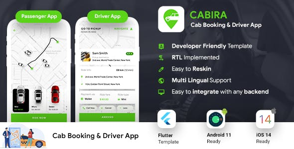 Cab Booking Android + iOS App Template | 2 Apps Passenger  + Driver | Cabira | Flutter