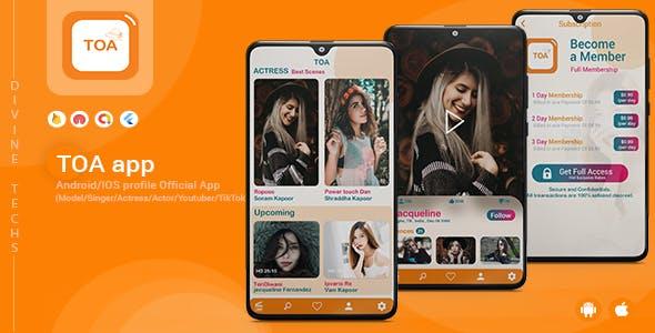 TOA - Flutter Official app ( Model / Singer / Actress / Actor / Youtuber / TikTok )
