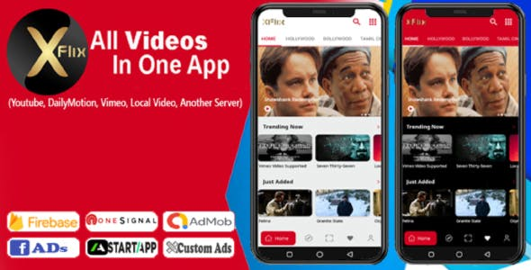 Xflix- All video in one app (movies,tv channels,web series with AdMob,audience network,startapp)