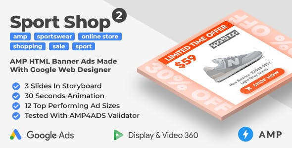 Sport Shop 2 - Shopping Animated AMP Banner Ad Templates (GWD, AMP)