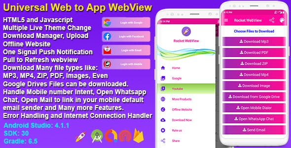 Android Native Rocket Speed WebView App Full Template With Mobile OTP Login