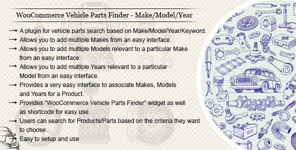WooCommerce Vehicle Parts Finder - Make/Model/Year
