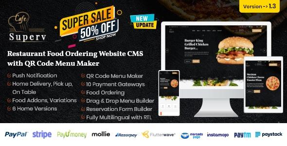 Superv - Restaurant Website Management with QR Code Menu & Food Order - CodeCanyon Item for Sale