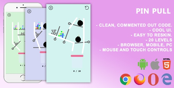 Pin Pull. Mobile, Html5 Game .c3p (Construct 3)