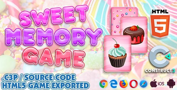 Sweet Memory HTML5 Game - Construct 3 All Source-code (.c3p)