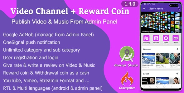 Video Channel + Reward Coin - CodeCanyon Item for Sale