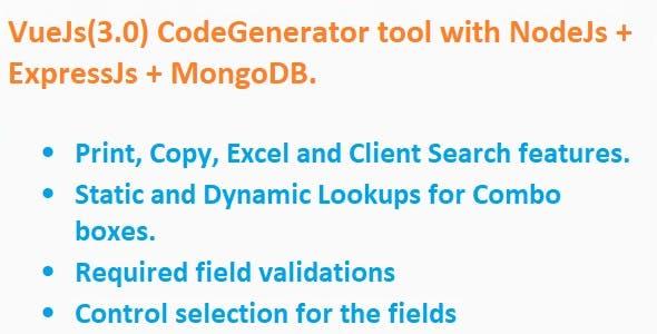 Code Generator for VueJs + NodeJs + ExpressJS + MongoDB (MERN)
