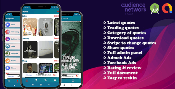 Quotes world app with admin (Android App) - CodeCanyon Item for Sale