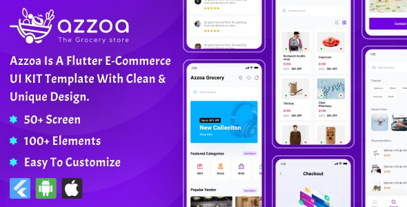Azzoa E-Commerce UI Template developed using Flutter - CodeCanyon Item for Sale