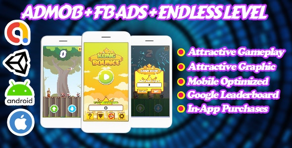 Kong Bounce - Endless Unity Game - Admob + Facebook Ads - Ready To Publish - CodeCanyon Item for Sale