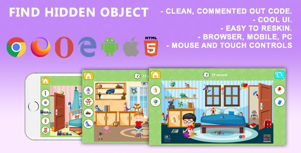 Find Hidden Object. Mobile, Html5 Game .c3p (Construct 3)