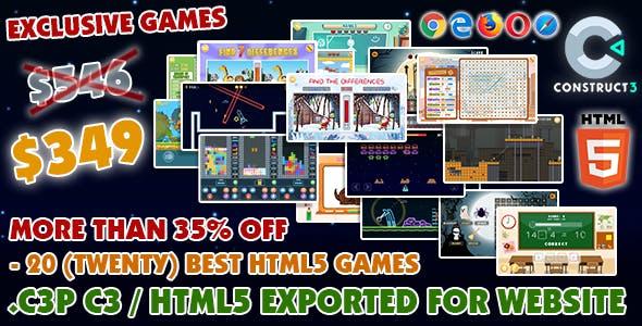 Game Bundle #10 – 20 (Twenty) Best HTML5 Games (Construct 3 all source-code)