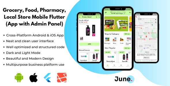 Grocery App Flutter with Admin Panel (Backend) - Foods and Pharmacy Store