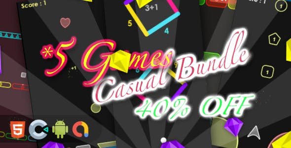Casual Game Bundle 3- 5 Games(Html5 + Construct 3 +Mobile)