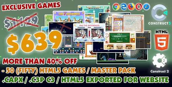 Game Bundle #11 – 50 (Fifty) HTML5 Games - Master Pack (Construct 2 / 3 all source-code)