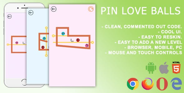 Pin Love Balls. Mobile, Html5 Game .c3p (Construct 3)