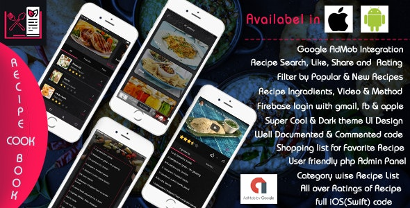 Recipe Cook Book - iOS App Template - CodeCanyon Item for Sale