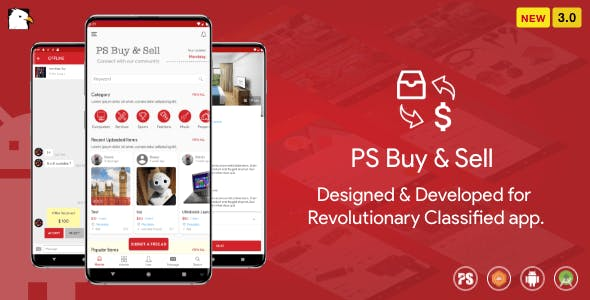 PS BuySell ( Olx, Mercari, Offerup, Carousell, Buy Sell ) Clone  Classified App ( 3.0 )