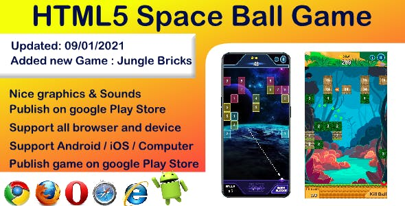 Space Balls, 99 Trail balls, Jungle bricks HTML5 game ( Support Android, iOS, Computer browser )