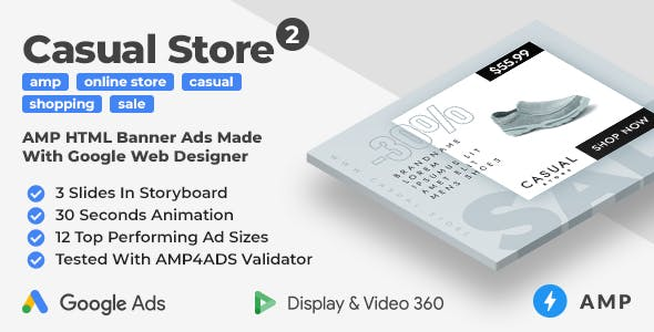 Casual Store 2 - Shopping Animated AMP Banner Ad Templates (GWD, AMP)
