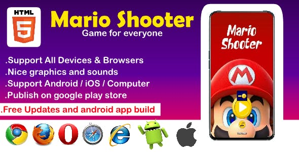 Mario Shooter HTML5 Game ( Support All device Android. iOS, Computer )