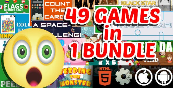 49 Arcade and Casual and Educational HTML5 Games in 1 Bundle |GameMaker and Construct 2 Capx