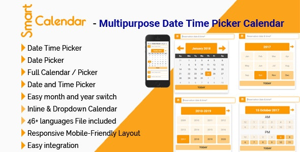 SmartCalendar - Multipurpose Date Time Picker Calendar - CodeCanyon Item for Sale