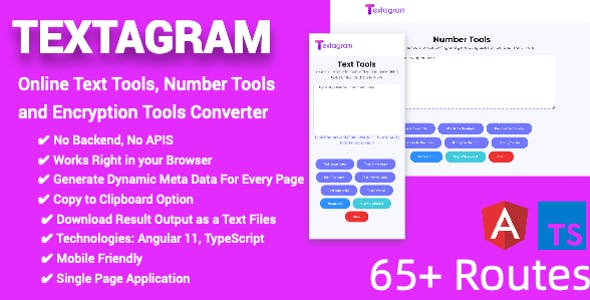 Online Text Tools, Number Tools and Encryption Tools Converter Full Production Ready (Angular 11)