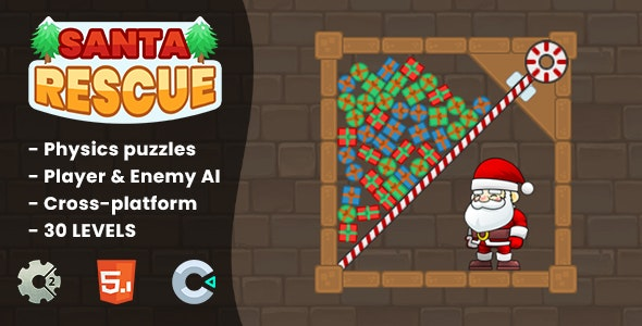 Santa Rescue - HTML5 Game | Construct 2 & Construct 3 - CodeCanyon Item for Sale