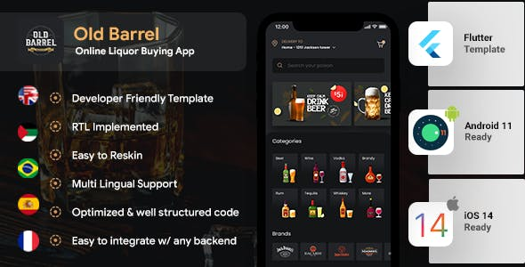 Online Liquor Buying Android App + iOS App Template | Flutter | OLD BARREL