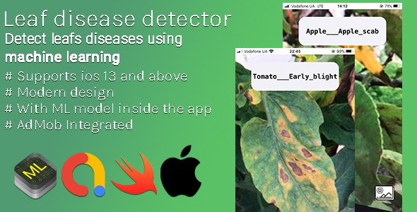 Leaf Disease Detector - iOS App With Custom Machine Learning Model To Detect Leaf Diseases - CodeCanyon Item for Sale