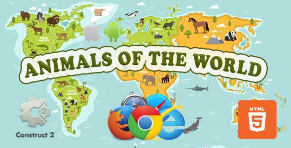 Animals Of The World - Educational Game - HTML5 (.Capx)