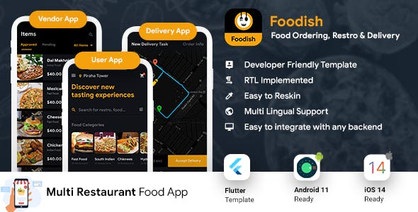 Food Ordering App | Food Delivery App | 3 Apps | Android + iOS App Template | FLUTTER | Foodish