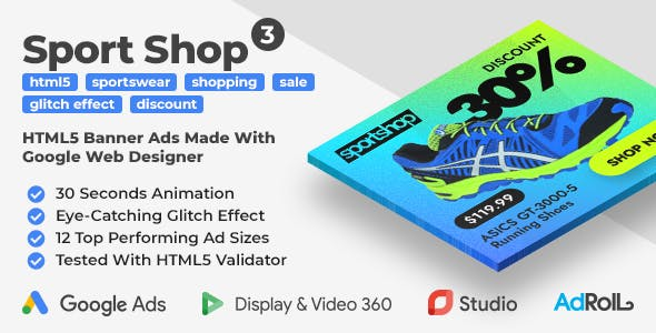Sport Shop 3 - Shopping Animated HTML5 Banner Ad Templates with Eye-Catching Glitch Effect (GWD)