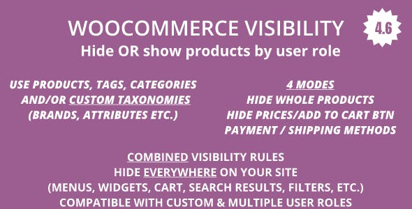 WooCommerce Hide Products, Categories, Prices, Payment and Shipping by User Role