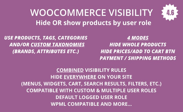 WooCommerce Hide Products, Categories, Prices, Payment and Shipping by User Role - CodeCanyon Item for Sale