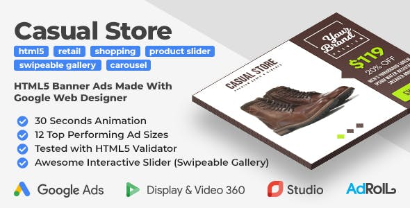 Casual Store - Shopping HTML5 Banner Ad Templates with Swipeable Gallery (GWD)