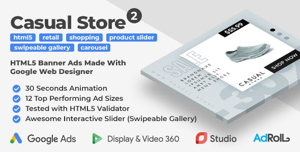 Casual Store 2 - Shopping HTML5 Banner Ad Templates with Swipeable Gallery (GWD)