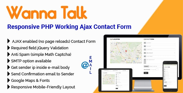 WannaTalk - Responsive PHP Working Ajax Contact Form - CodeCanyon Item for Sale