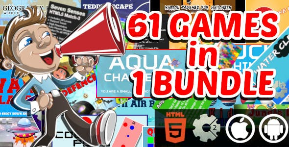 61 Construct 2 Capx and GameMaker Games in 1 Bundle   HTML5 Games for Web and Android and iOS