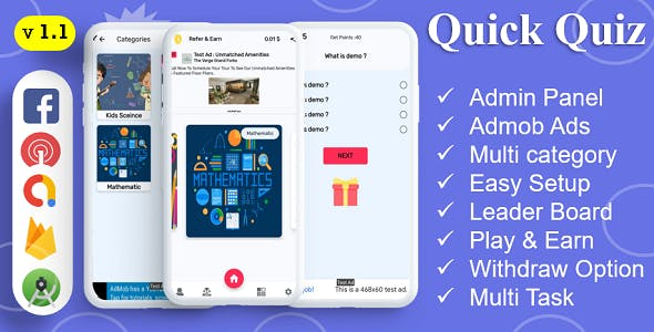Quick Quiz App | Quiz App | Multi Category | Amob Ads | Facebook Ads | Admin Panel